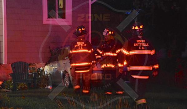 North Amityville Fire Co. MVA w/ Car Into a House    2 Matthew Dr. 8/21/15