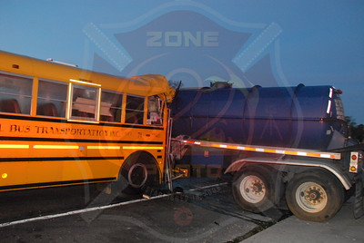 North Amityville Fire Co. MVA w/ Entrapment and Medevac School Bus vs Oil Tanker Sunrise Hwy. east of Rt.110 10/25/10