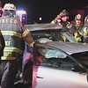 North Babylon Accident Car Hits Two Parked Cars and Traps Driver- Paul Mazza