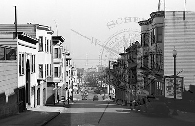View East down Pacific St -Bay Bridge , Wellman Coffee