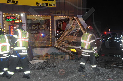 North Bellmore F.D. MVA w/ Car Into Building 2608 Hempstead Tpke. 11/8/14