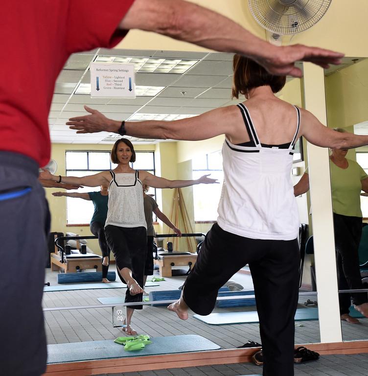 . Michelle Harris teaches the  North Boulder Pilates class. Cliff Grassmick  Staff Photographer  August 7, 2018