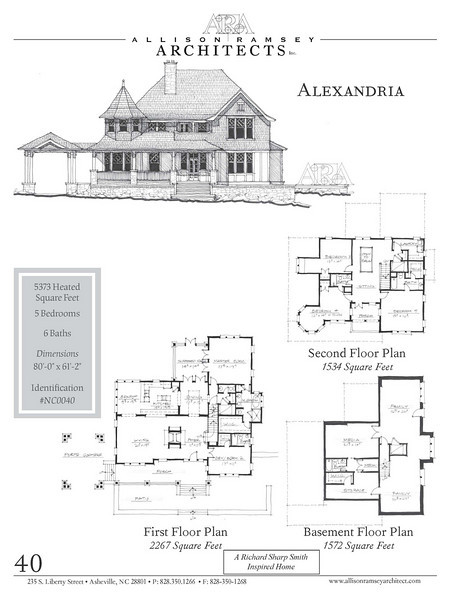 "This plan is 5,373 Heated Square Feet, 5 Bedrooms and 6 Bathrooms. The master bedroom is on the main floor. The plan dimensions are 80'-0"" x 61'-2"". NC0040"