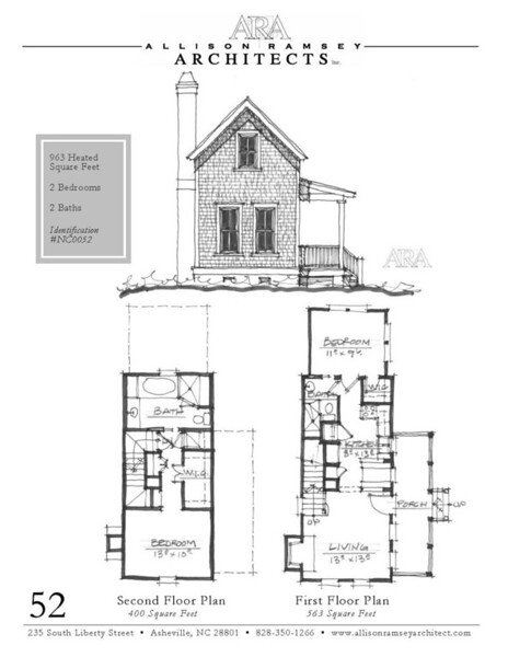 "This plan is 963 Heated Square Feet, 2 Bedrooms and 2 Bathrooms. The master bedroom is on the main floor. The dimensions are 22'-4"" x 41'-8"". NC0052"
