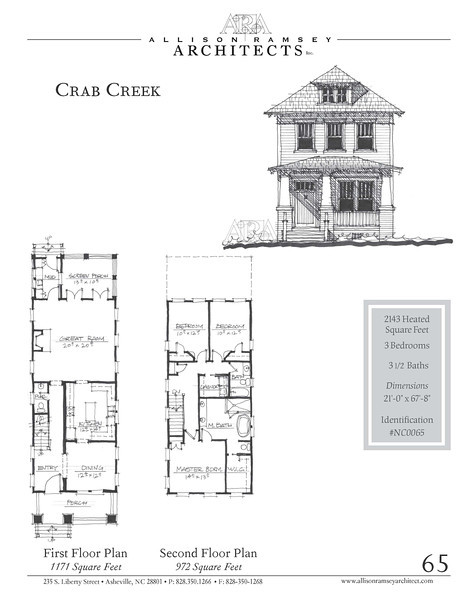 """This plan is 2,143 Heated Square Feet, 3 Bedrooms and 3 1/2 Bathrooms. The plan dimensions are 21'-0"""" x 67'-8"""". North Carolina Collection, page 65, NC0065."""