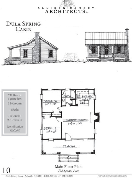 The Dula Springs Cabin plan by Allison Ramsey Architects. This plan is 792 Heated Square Feet, 2 Bedrooms and 1 Bathroom. North Carolina Collection, Page 10. NC0010.