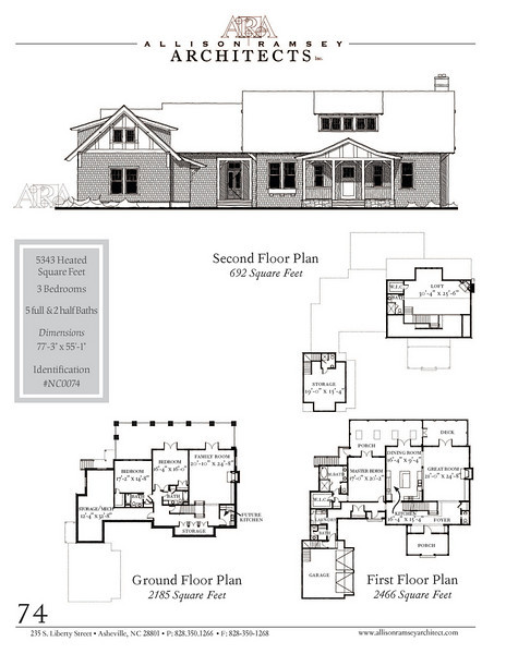 "This plan is 5,343 Heated Square Feet, 3 Bedrooms and 5 full Bathrooms and 2 half bathrooms. The master bedroom is on the main floor. The plan dimensions are 77'-3"" x 55'-1"". NC0074"