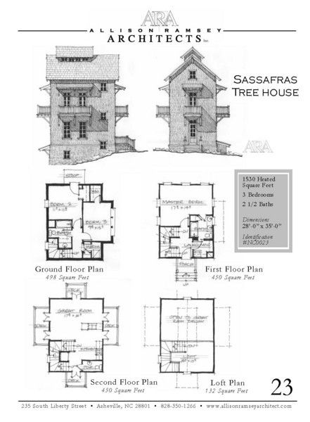 "This plan is 1,530 Heated Square Feet, 3 Bedrooms and 2 1/2 Bathrooms. The master bedroom is on the main floor with living above. The dimensions are 28'-0"" x 35'-0"". NC0023"