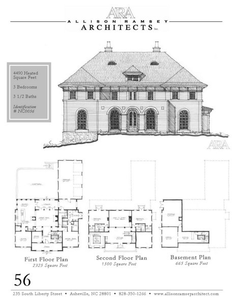 "This plan is 4,490 Heated Square Feet, 3 Bedrooms and 3 1/2 Bathrooms. The master bedroom is on the main floor. The plan dimensions are 66'-6"" x 90'-6"". NC0056"