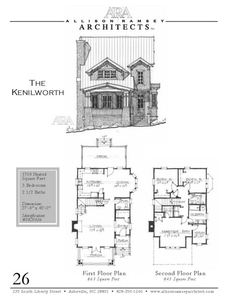 "This plan is 1,708 Heated Square Feet, 3 Bedrooms and 2 1/2 Bathrooms. The master bedroom is on the main floor. The dimensions are 27'-8"" x 45'-0"". NC0026"