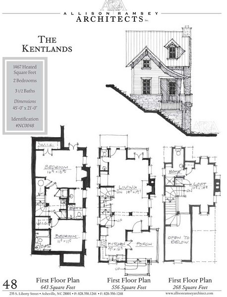 """This plan is 1,467 Heated Square Feet, 3 Bedrooms and 3 1/2 Bathrooms. The dimensions are 45'-0"""" x 21'-0"""". NC0048"""