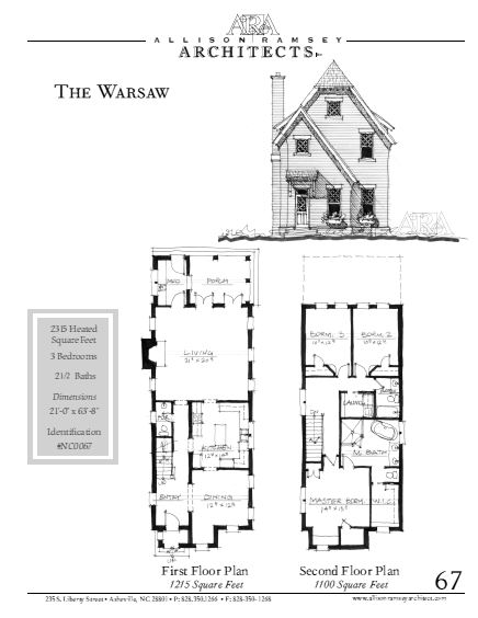 """The Warsaw is 2,315 Heated Square Feet, 3 Bedrooms and 2 1/2 Bathrooms. The plan dimensions are 21'-0"""" x 63'-8"""". NC0067."""