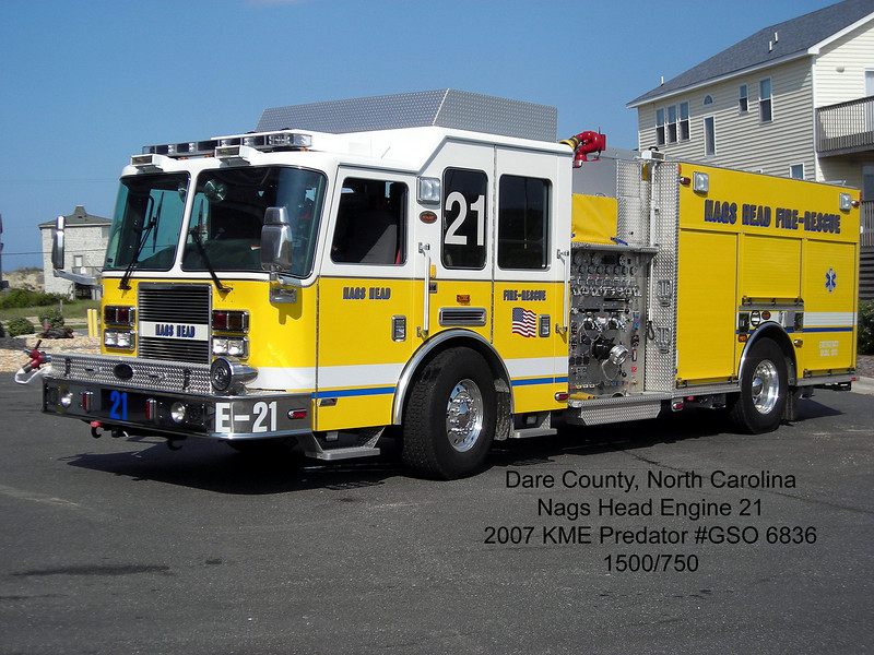Nags Head Fire Department<br /> Dare County, NC<br /> 2007 KME Predator 1500/750<br /> Jerry Puryear photo