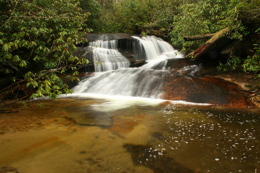 Cedar Rock Creek (upper) Falls, Transylvania County    Pisgah National Forest