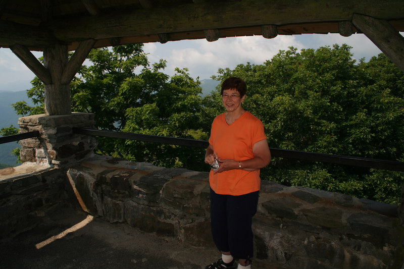 Mom in lookout tower at Wayah Bald overlook: 5,349 ft; Macon Co, NC