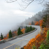 Linn Cove Viaduct on foggy autumn morning,.