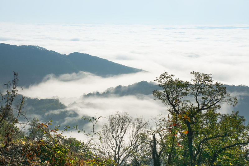 Beautiful mountain view with clouds over the mountains and hills.  Close to Blowing Rock, Blue Ridge Parkway, North Carolina, USA