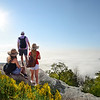 Family enjoying time together  on top of the  mountain over the clouds. Blue Ridge Parkway, close to Blowing Rock,  North Carolina, USA.
