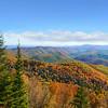 Beautiful colorful autumn mountain range landscape.