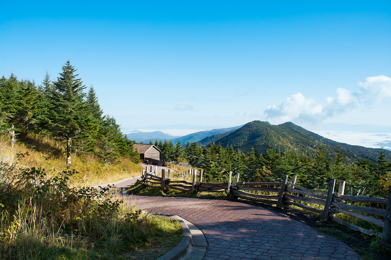 Mountain scenery. Winding pathway through  mountains. Mount Mitchell State Park, North Carolina, USA
