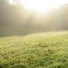 Beautiful morning foggy  scenery of a meadow illuminated by sun rays  Blue Ridge Parkway.  Close to Blowing Rock, North Carolina,USA.