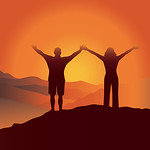 Man and woman with hands up  on the top of mountain. Vector illustration. Blue Ridge Mountains, North Carolina, USA.