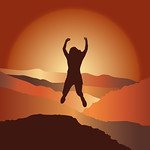 Happy girl with hands up jumping on top of the mountain.  Vector illustration. Blue Ridge Mountains, North Carolina, USA.