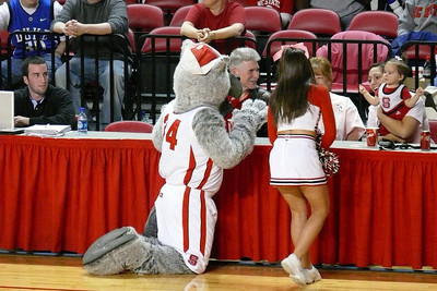Mr. Wolf greets the little people.