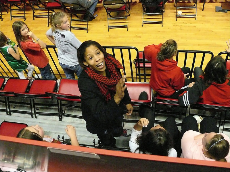 "Look who came by the game - Khadijah Whittington!  Former NCSU star and now a member of the WNBA Indiana Fever.  We were soooo excited to see her again and say ""hey""!"