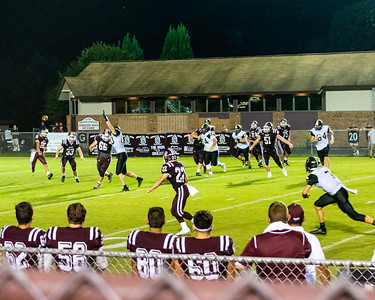 The Swain County Maroon Devils take on the Hayesville Yellowjackets at the Swain County Memorial Football Stadium in Bryson City, September 20, 2018. (Joseph Forzano / Deep Creek Films)