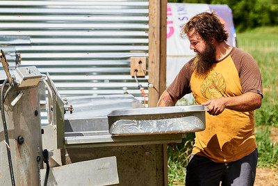 Hayden Smith, co-owner of Gnome Mountain Farms in Franklin, North Carolina, cleans the evisceration table in preparation for chicken processing, Sunday, June 27, 2021. (Joseph Forzano / Deep Creek Films)