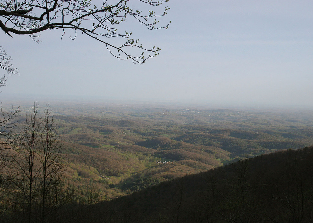 Woody Gap, a picturesque mountain ridge gap where the Appalachian Trail crosses GA Hwy. 60, From an elevation of 3,000 feet, scenic vistas of Yahoola Valley below.