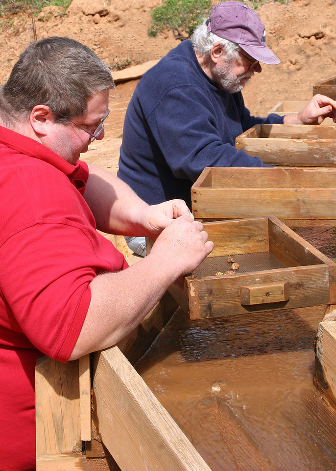 Davide, our son, left and Mike mining for rubies - 4/6/07