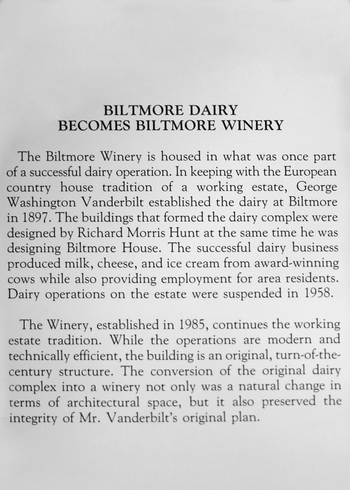 Sign about Biltmore Dairy becomes Biltmore Winery