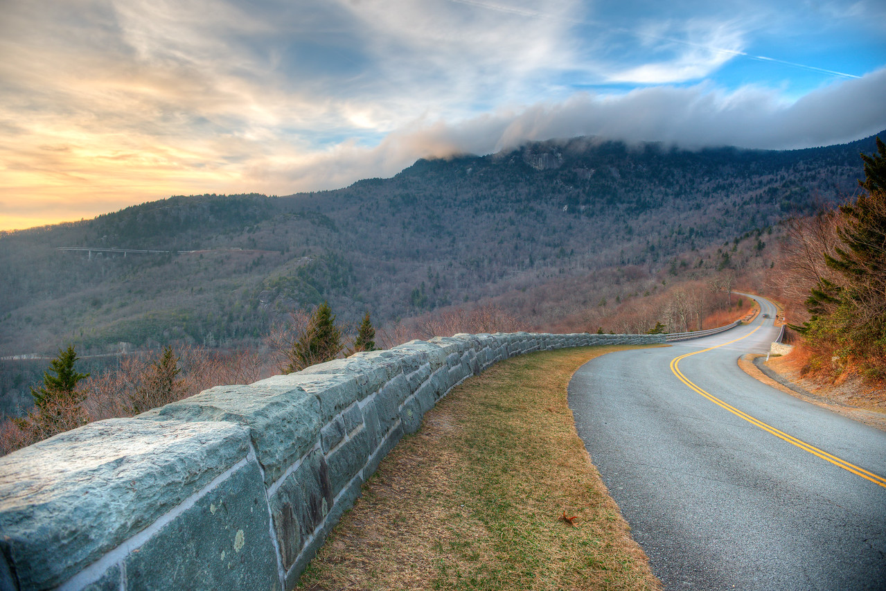 Linn Cove Viaduct and Grandfather Mountain
