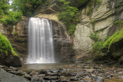 The thunderous Looking Glass Falls in Brevard, NC on Friday, July 24, 2015. Copyright 2015 Jason Barnette