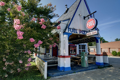The location of the original Fuel Pizza inside a former 1930's gas station on Central Avenue in Charlotte, NC on Sunday, June 15, 2014. Copyright 2014 Jason Barnette