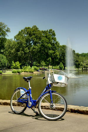 A Charlotte B-Cycle bike, rentable by the hour, beside the lake at Freedom Park in Charlotte, NC on Sunday, June 15, 2014. Copyright 2014 Jason Barnette