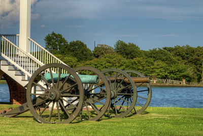 A pair of canons on display the Barker House in Edenton, NC on Thursday, August 20, 2015. Copyright 2015 Jason Barnette