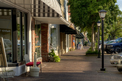 View along the quaint sidewalks and small shops along South Broad Street in Edenton, NC on Thursday, August 20, 2015. Copyright 2015 Jason Barnette