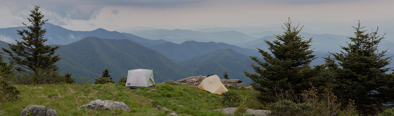 Our camp on Grassy Ridge, overlooking the Yellow Mountains, Black Mountains, and Toe River Valley.
