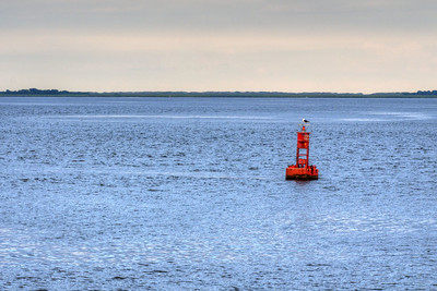 A channel marker seen from the North Carolina Ferry to Southport from Kure Beach, NC on Friday, June 5, 2015. Copyright 2015 Jason Barnette