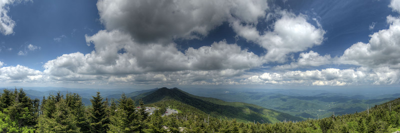View from the observation deck atop Mt. Mitchell, including the large parking lot below, in Mount Mitchell State Park at Milepost 355.4 on the Blue Ridge Parkway in NC on Saturday, June 15, 2013. Copyright 2013 Jason Barnette