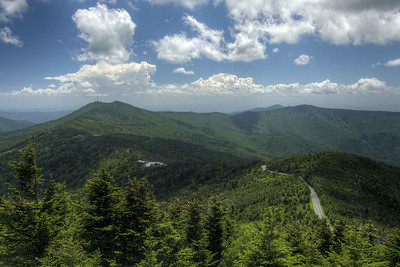 The long and winding road through the state park at Mt. Mitchell State Park at Milepost 255.4 on the Blue Ridge Parkway in North Carolina on Monday, June 15, 2015. Copyright 2015 Jason Barnette