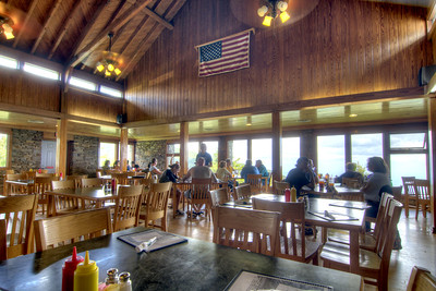 The view inside the restaurant at Mt. Mitchell State Park at Milepost 255.4 on the Blue Ridge Parkway in North Carolina on Monday, June 15, 2015. Copyright 2015 Jason Barnette