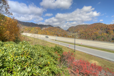 View of the fall colors from the scenic overlook at the North Carolina Welcome Center on Interstate 26 in Mars Hill, NC on Sunday, November 3, 2013. Copyright 2013 Jason Barnette