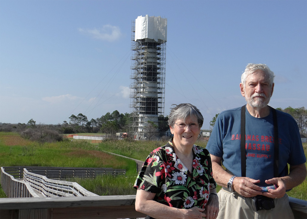 Susan and Mike with Bodie Light House in background