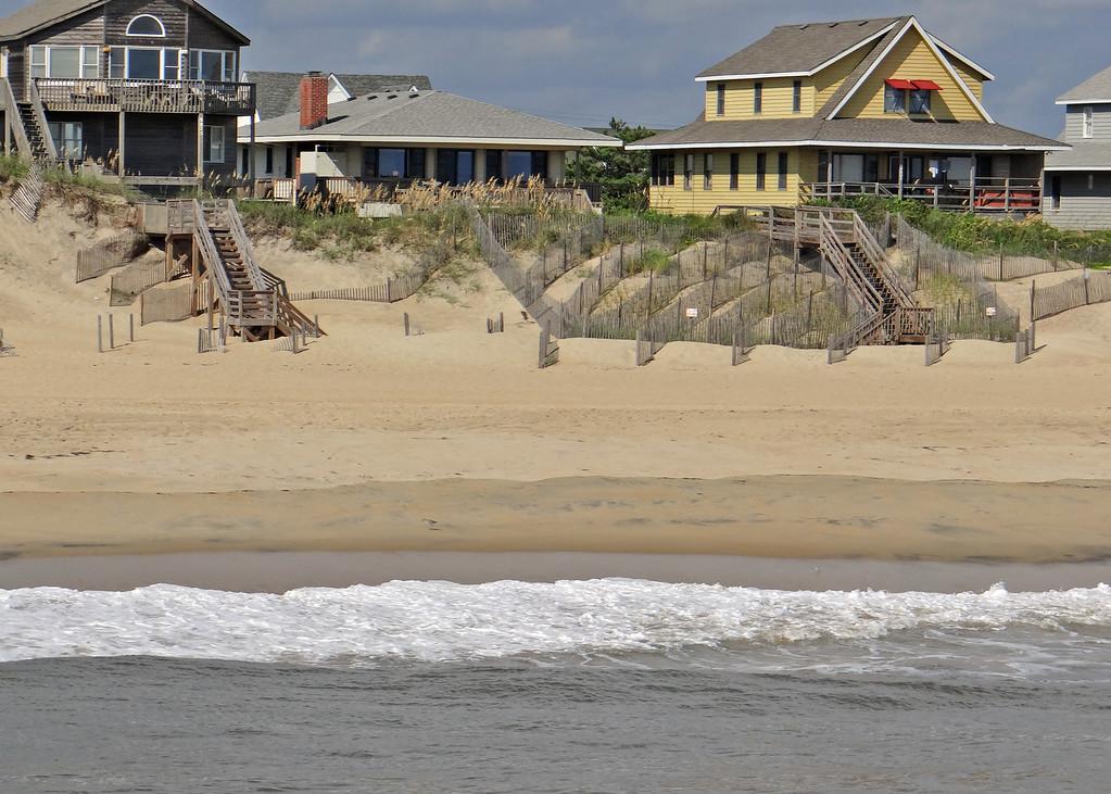 Houses along beach