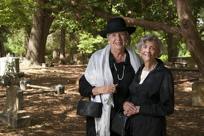 Pat Kirkman and Musette Steck pose for a photo at the Voices From the Past reenactment event at the Old Smithville Burying Grounds during the North Carolina 4th of July Festival in Southport, NC on Saturday, July 4, 2015. Copyright 2015 Jason Barnette