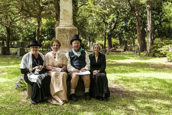 A group photo at the Voices From the Past reenactment event at the Old Smithville Burying Grounds during the North Carolina 4th of July Festival in Southport, NC on Saturday, July 4, 2015. Copyright 2015 Jason Barnette